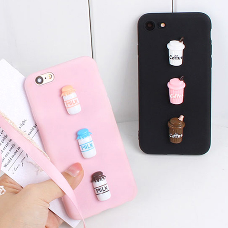 Cute Candy Coffee Iphone 7 Plus Cover Soft Silicone 3D Milk Phone TPU Cover For Iphone X 8 6S 6 5 5S Se 4 4S