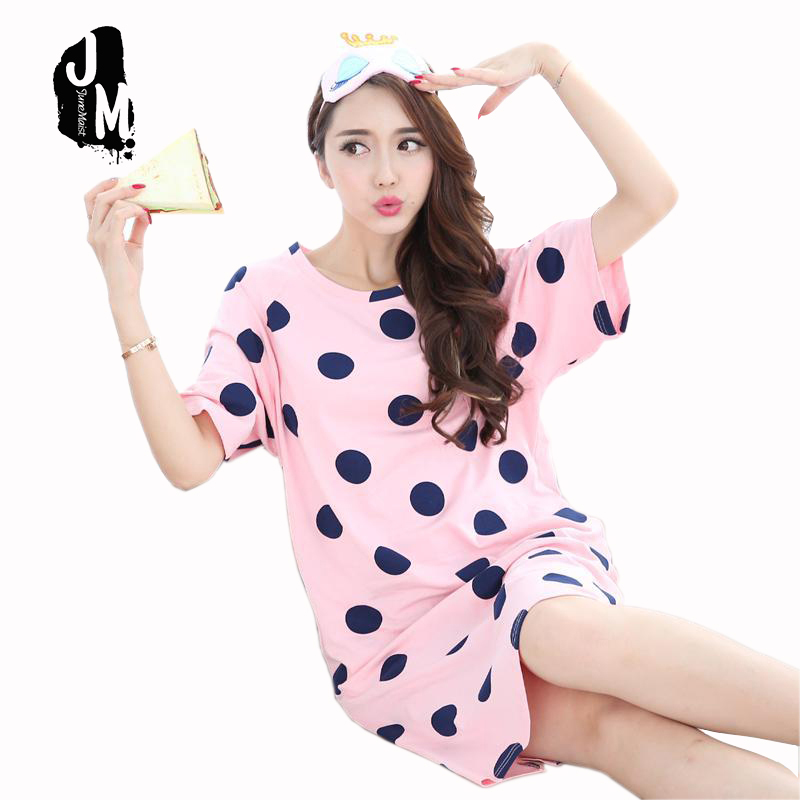 Women   Nightgowns   Female   Sleepshirt   Spring 2017 New Summer 100% Cotton Lady Nightdress Mum Lounge S XXXL Pink Black Blue