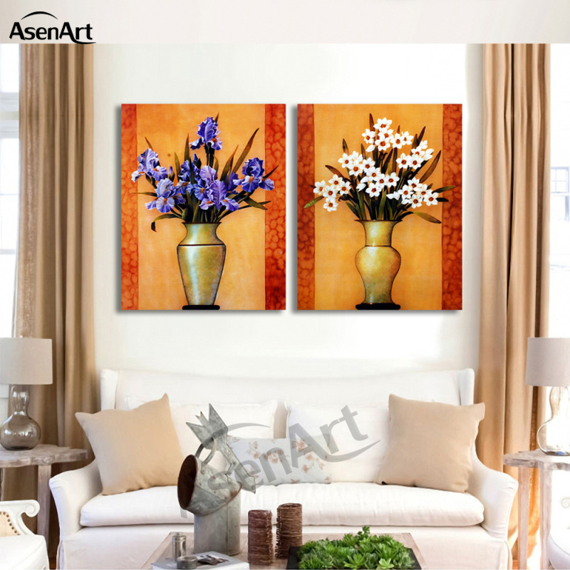 Painting Two Walls In A Room: 2 Piece Set Purple White Flower Picture Art Vase Painting