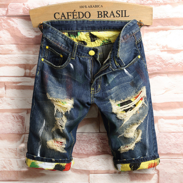 Fashion Knee Length Summer Jeans Shorts Man Leisure Mens Ripped Short Jeans Hole Biker Casual Breathable Denim Shorts Male Hot