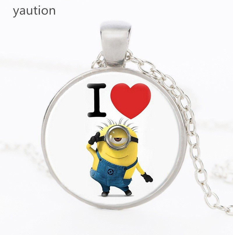 Despicable Me Minions Floating Crystals Pendant Necklace Kids Jewelry