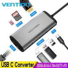 Vention Usb Hub USB Type C to HDMI USB 3.0 HUB Thunderbolt 3 Adapter For MacBook Samsung S9 S10 Huawei Mate 20 P30 Pro USB-C HUB цена и фото