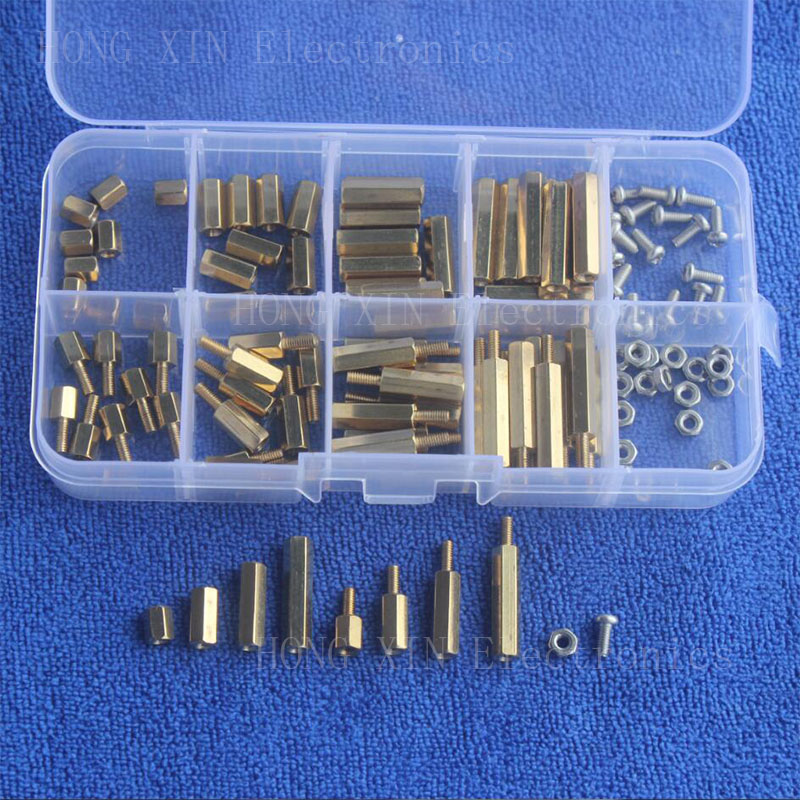 High Quality120Pcs/M2.5 PCB Male-Female Brass Standoff Spacer Board Hex Screws Nut Assortment kit set oxyfashion slideup универсальный размер m 4 3 5 black