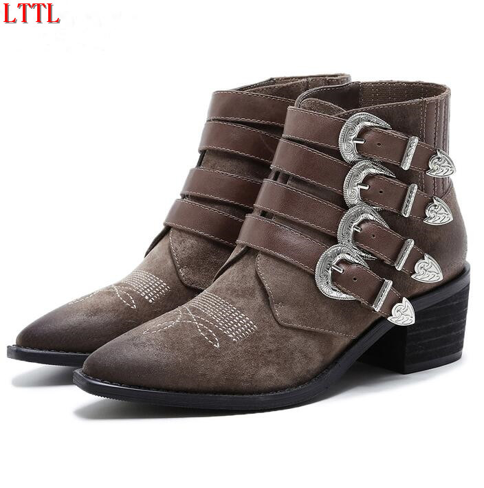 Fall winter Vintage suede Motorcycle boots four buckles straps Ankle Boots for women Pointy toe martin Booties Zapatos Mujer front lace up casual ankle boots autumn vintage brown new booties flat genuine leather suede shoes round toe fall female fashion