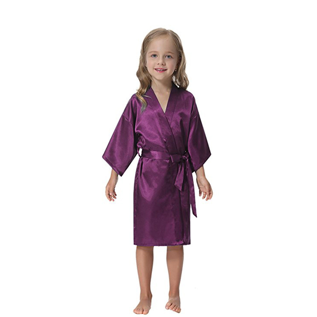 Kids  Satin Kimono Robe Solid Bathrobe Nightgown For Spa Party Wedding Birthday  Girls Kids Summer Silk Japanese Kimono b476c1d43