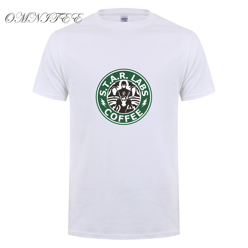 Summer New The Flash Star Labs Coffee T Shirts Men Funny