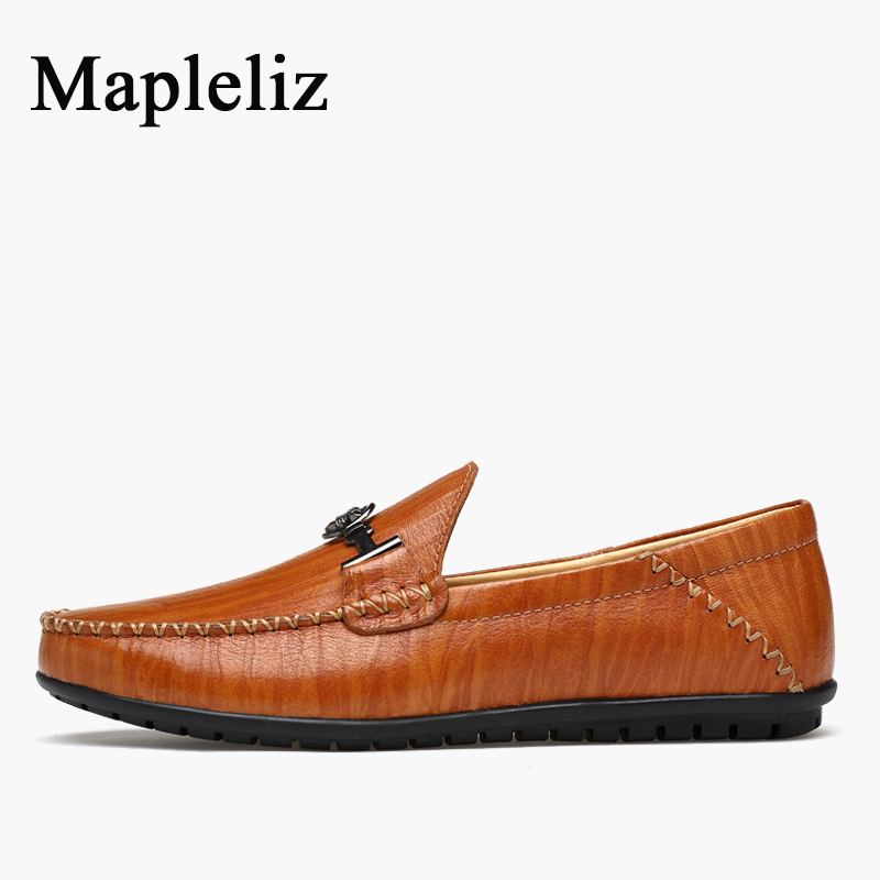 Mapleliz Brand Solid Full Grain Leather High Quality Breathable Men Moccasins Shoes Soft Slip-On Flats Driving Shoes For Men hot combination socket set ratchet tool torque wrench to repair auto repair hand tools for car kit a set of keys yad2001