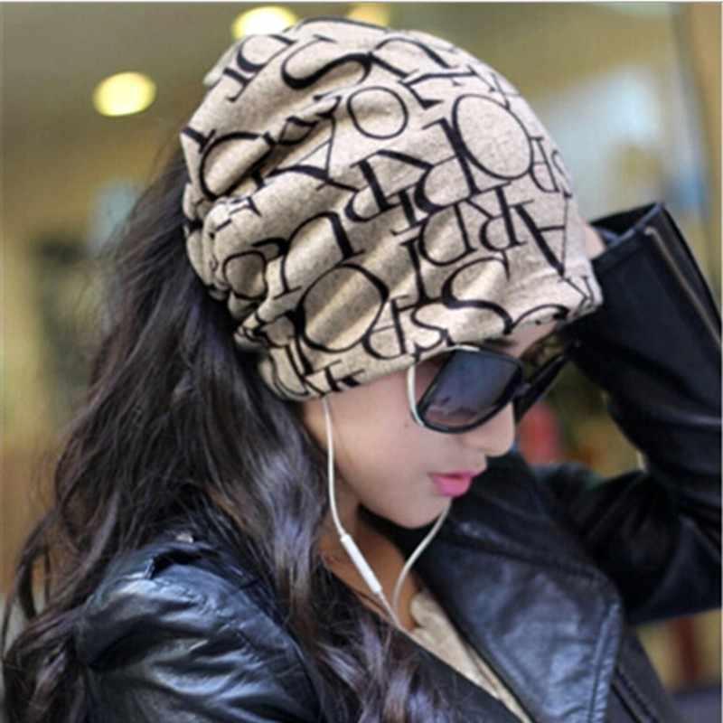 Baru Hangat Topi Wanita Topi Wanita Topi Hip-Hop Bahasa Inggris Huruf Multi Tujuan Longgar Topi Rajutan Huruf Beanies