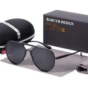 Image 5 - نظارات شمسية من الألومنيوم كبيرة الحجم من BARCUR نظارات شمسية مستقطبة للرجال نظارات شمسية للرجال مضادة للانعكاس مع صندوق هدية
