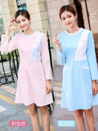 Nurse wear doctor white coat long sleeve dress female pink Korean temperament pet tattoo beautician work clothes