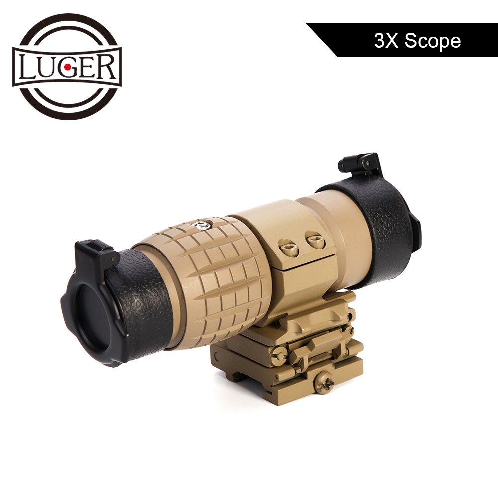 LUGER Tactical Optic Red Dot Sight 3X Magnifier Scope With Flip Up Cover Fit For 20mm Rifle Gun Quick Release Rail Mount