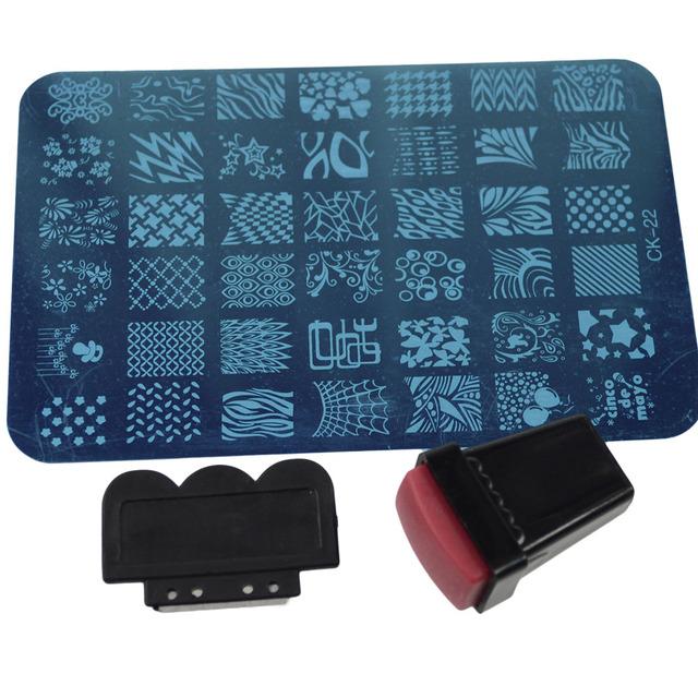 1 pcs carimbar Placas com Modelos de Moda 22 designs Nail Art Polonês Stamper Raspador Decorações Manicure Ferramentas TRNC101