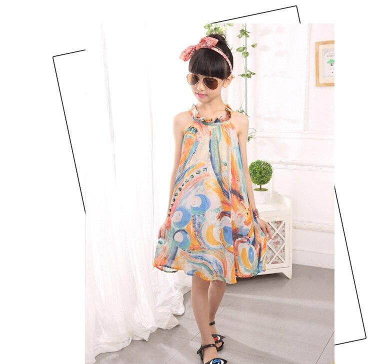 girls beach summer dress girl  flower print dresses casual sleeveless chiffon A -line loose dress children clothing new arrival (5).jpg