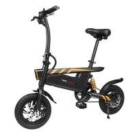 Ziyoujiguang T18 250W Motor Lightweight Mini Folding Electric Bicycle Bike Aluminum Alloy EU Plug with LED Front Tail Light