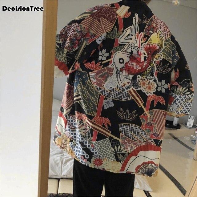2019 summer mens kimono japanese clothes streetwear casual kimonos jackets harajuku japan style cardigan outwear Cardigan Jacket