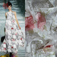 Designer Elegant White Poly Silk Burnout Fabric Pink Floral Jacquard Fabric For Wedding Dress Free Shipping