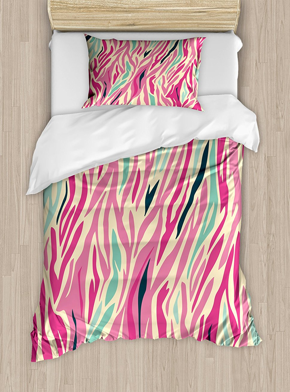 Pink Zebra Duvet Cover Set Funky Fashion Pattern With