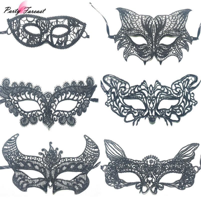 Partyfareast Lace Masks Sexy Cosplay Eye Mask for Women Girls Butterfly Fox Animal Ball Mask for Party Carnival Fancy Costume(China)