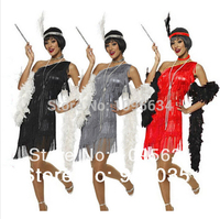 free shipping Adult Black Roaring Flapper Charleston Fancy Dress Costume 20s Sexy costume 3 colors S,M,L,XL,2XL IN STOCK