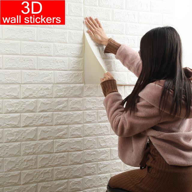 70*77 3D Wall Sticker Self Adhesive Wallpaper DIY Brick Living  RoomTV Kids Safty BedroomWarm Home waterproof Decor Wall Sticker