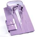 2017 New Fashion Pink Striped Men Shirt  Double Collar Cotton Mens Dress Shirts Brand Design Long Sleeve Business Formal Shirt