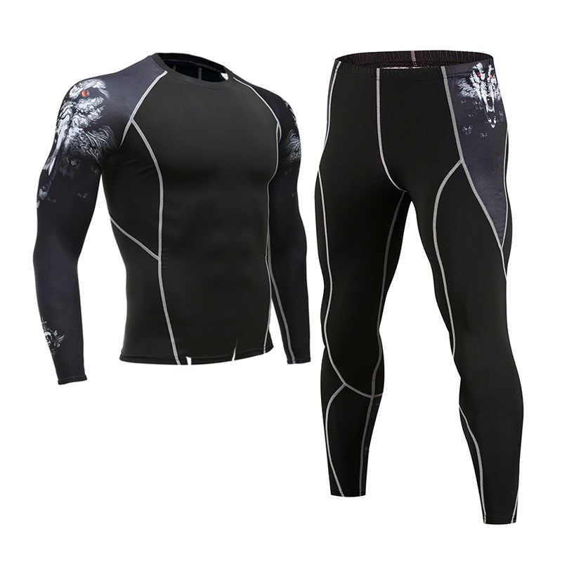 Мужской тренировочный комплект, теплое Спортивное нижнее белье, футболка с длинными рукавами, колготки для бега, рубашка + штаны для бега, спортивный костюм из 2 предметов, мужская одежда