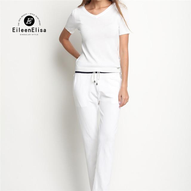 Señoras 2 Unidades Traje Establece 2017 de Lujo de Alta Calidad de Algodón T camisa Y Pantalones Largos Fijados Traje Para Las Mujeres Diseñador de la Marca de Lujo conjuntos