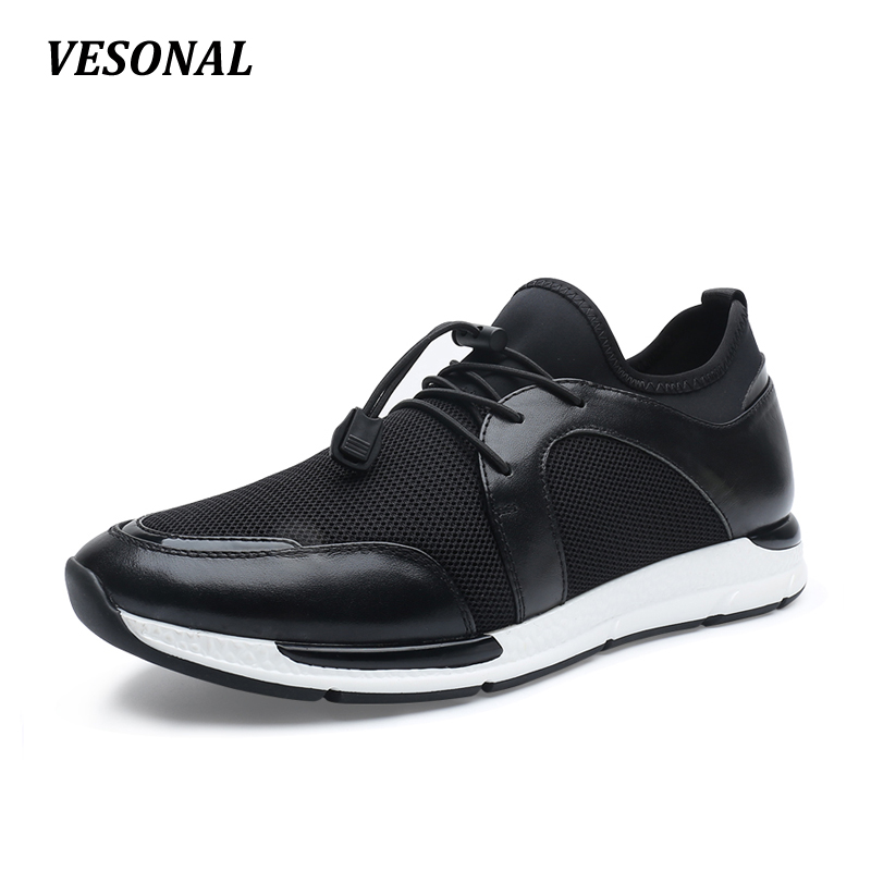 VESONAL 2017 Breathable Mesh Genuine Leather Lycra Patchwork Mens Shoes Casual Wedge Men Shoes Outdoor Walking Black SD7081 vesonal 2017 top quality lycra outdoor ultralight slip on loafers men shoes fashion stripe mens shoes casual sd7005