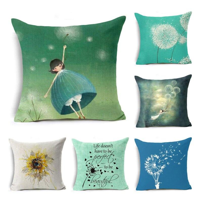 Dandelion girl Cushion Cover sunflower lovely cat pillow case Cotton line Dandelion pillow cover sofa Home Decorative almofadas