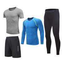New Arrival Mens Sport Suit 4pcs Fitness Sportswear Soccer Basketball Jersey Quick Dry Tracksuits Running Set