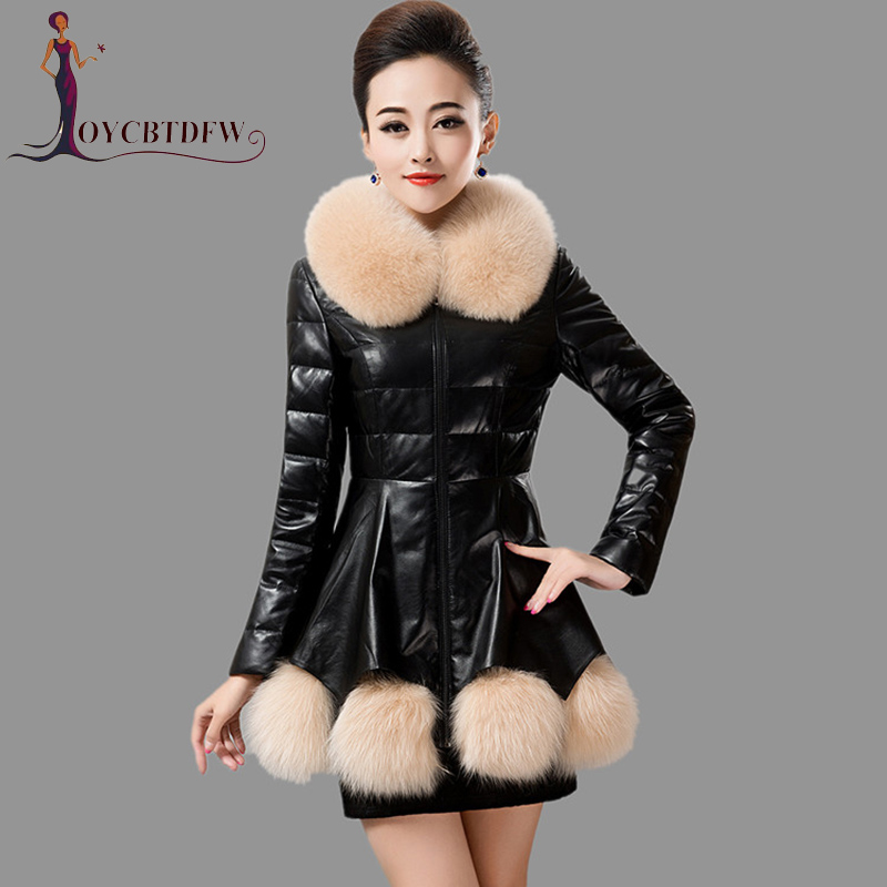 Winter Jacket Female 2018 Fashion New Mid long section PU   Leather   Overcoat Warm Fur Collar Imitation fur Women Outerwear DD335