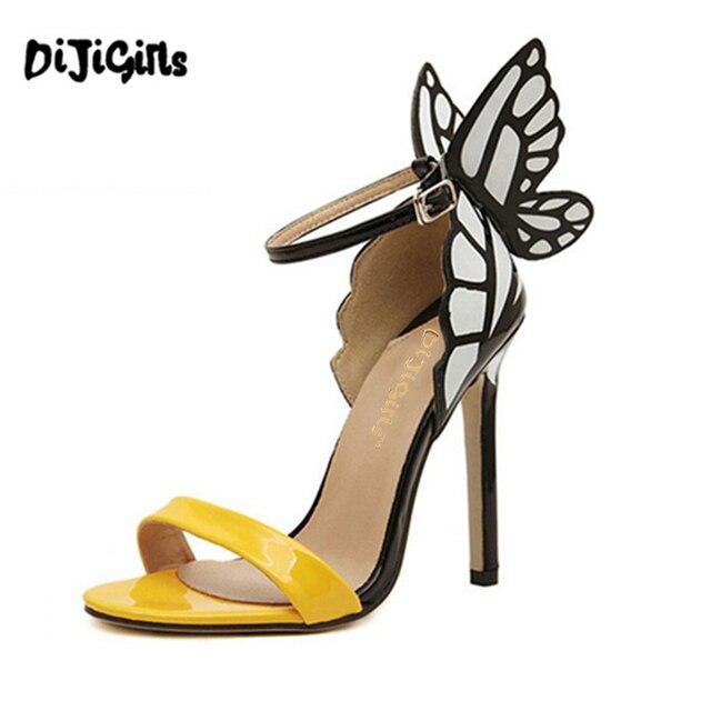 Sophia webster Sandalo delle donne di estate sexy open toe tacco alto  farfalla pattini della signora 9a7c279b976