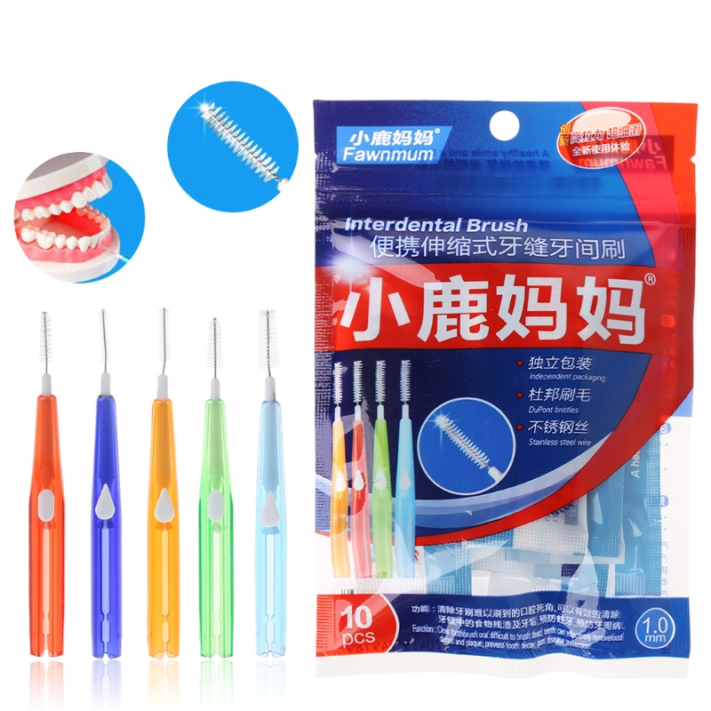 10pc Dewasa Interdental Brush Clean Antara Gigi Floss Toothpick Oral - Kebersihan mulut