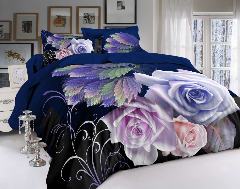 BEST.WENSD 3D Bedclothes Flower 4pcs Bedding Sets King Or Queen Reactive Print Modern style Love jacquard Wedding decoration