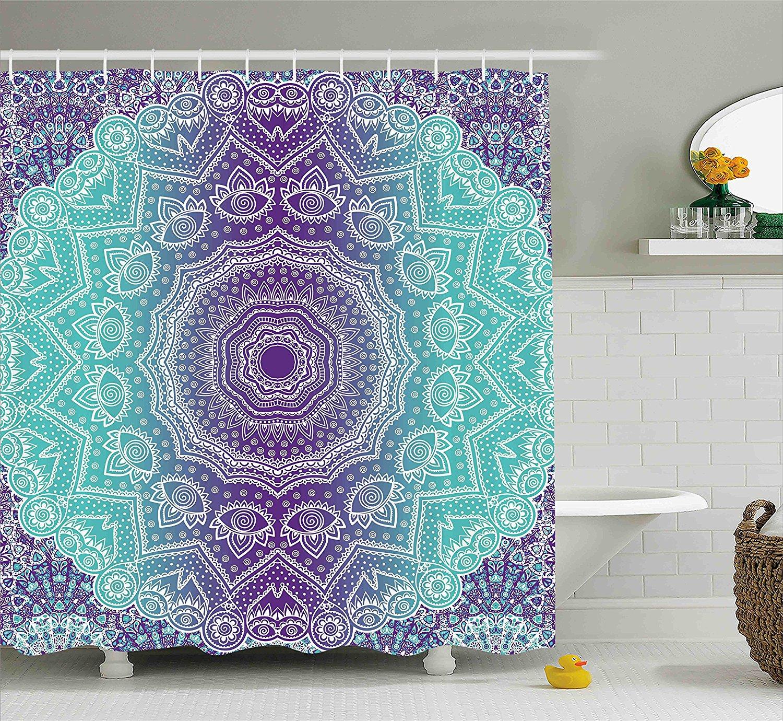 Purple Turquoise Shower Curtain Hippie
