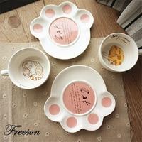Japanese Kawaii Cat Tea Cup Saucer Set Cute Kitty Ceramic Teacup 180ml Creative Porcelain Coffee Cup
