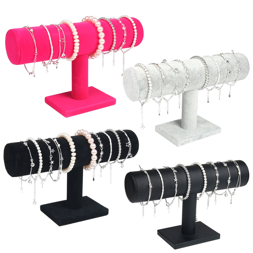 Portable Velvet/PU Leather Bracelet Bangle Necklace Display Stand Holder Watch Jewelry Organizer T-Bar Rack LL@17