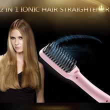 2 In 1 LCD PTC Heating + Ionic Electric Fast Hair Straightener Brush Hair Straightener Comb Straightening Brush