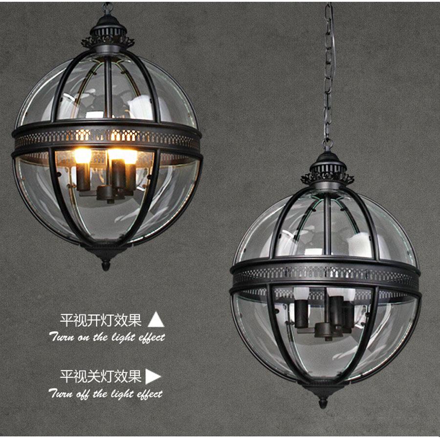 Freie Verschiffen Weinlese Retro Leuchter Lampe Glas Metall Malerei - Innenbeleuchtung - Foto 6