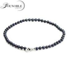 Real de Agua Dulce Collar de Perlas para La Boda, Negro Natural Collar de Perlas de Plata 925 Madre Mamá Mejor Regalo de Cumpleaños