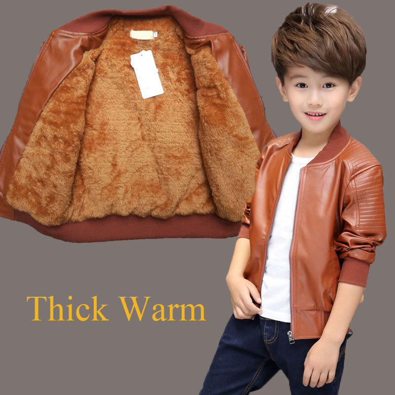 Children Boy Coat PU Leather Kids Outwear Spring Winter Casual Jacket For Boys Windbreak Black Brown TZ145
