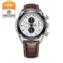 Megir моды кожа спортивные кварцевые часы для мужчин военный хронограф наручные часы мужчины армия стиль