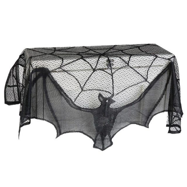 60*20inch 1 Piece Halloween Decoration Black Lace Spiderweb Fireplace Mantle Scarf Cover Curtains Shades Festive Party Supplies