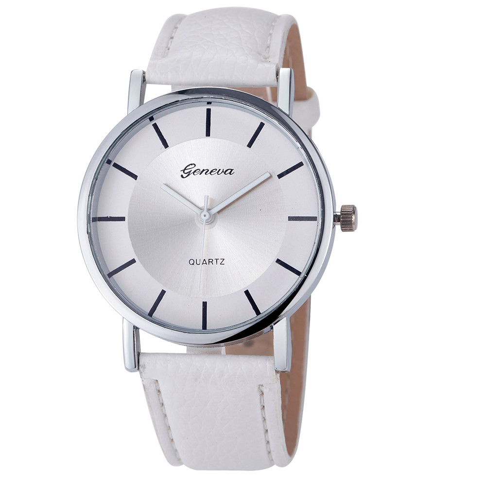 New Geneva Stylish Ladies Wrist watches Women Fashion Simple Dial Leather Belt Analog Quartz Wrist watch Clock Relogio Feminino cute cat watch women pu leather wrist watches vogue ladies casual analog quartz watch 2017 new fashion clock relogio feminino