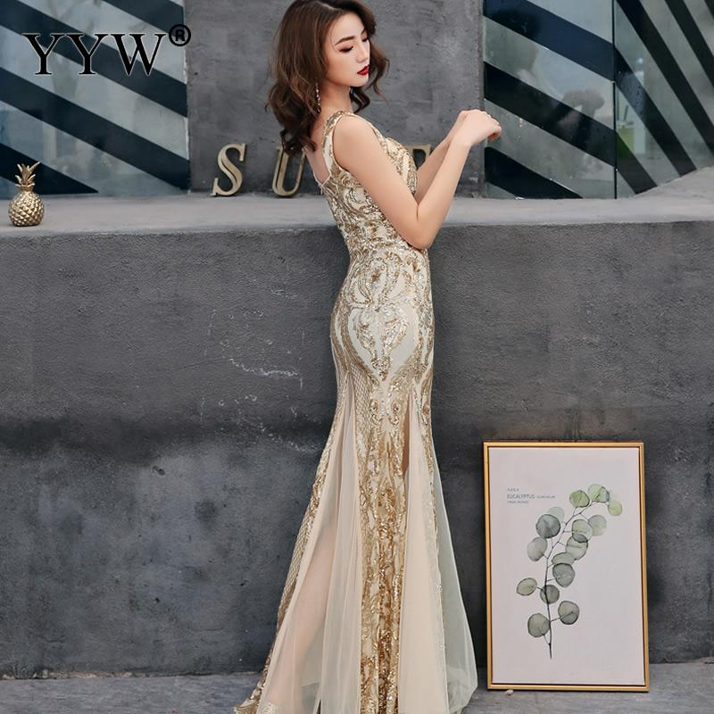 Shinny Gold Sequined V Neck Sleeveless Elegant Evening Dresses Sexy Robe De Soiree Formal Dress Luxury Mesh Club Party Vestidos 2