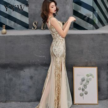 Shinny Gold Sequined V Neck Sleeveless Elegant Evening Dresses Sexy Robe De Soiree Formal Dress Luxury Mesh Club Party Vestidos 2