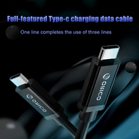 1pc 2 in 1 Data Cable Type C to Type C USB 3.1 Gen2 Charging Cable Cord 1M EM88
