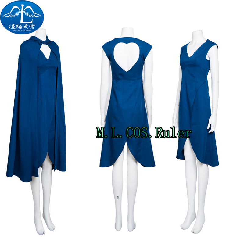Newest Movie Game of Thrones Daenerys Cosplay Costume Blue Dress+Cloak Adult Custom Size High Quality Free Shipping