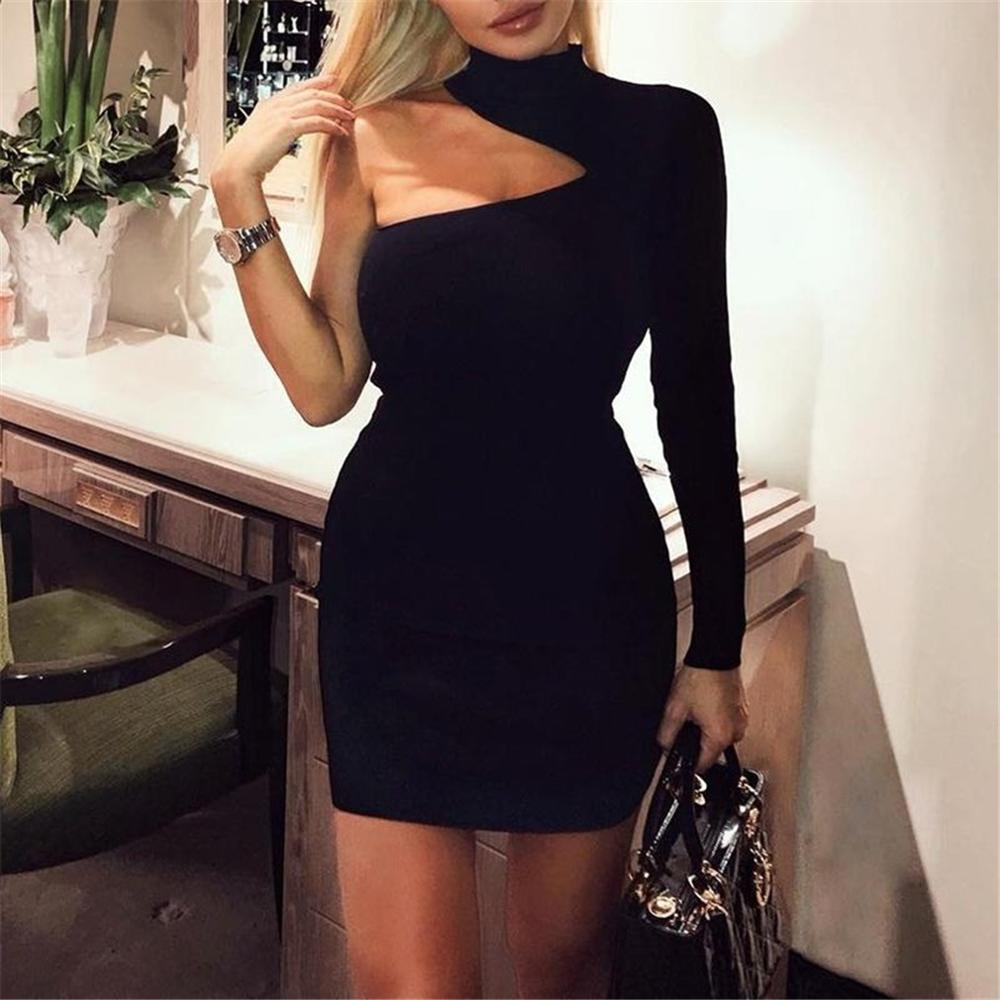 Bodycon Bandage <font><b>Dress</b></font> Women Vestidos Verano 2019 Summer <font><b>Sexy</b></font> Elegant <font><b>White</b></font> Black Yellow One Shoulder Mini Celebrity Party <font><b>Dress</b></font> image