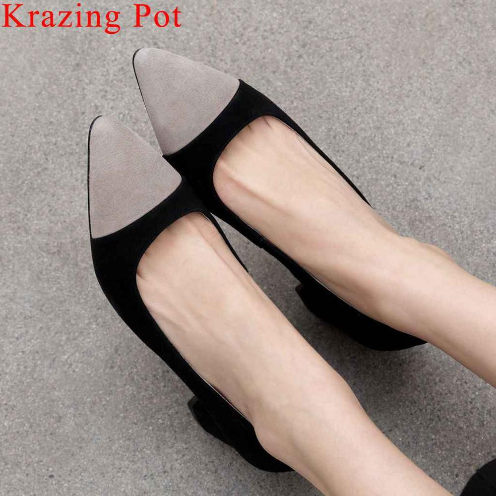 Krazing Pot mixed colors full grain leather chunky med heels pointed toe women pumps slip on office lady dress suit shoes L5f5Krazing Pot mixed colors full grain leather chunky med heels pointed toe women pumps slip on office lady dress suit shoes L5f5